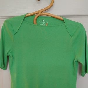 Talbots pima cotton green boatneck tee, Small